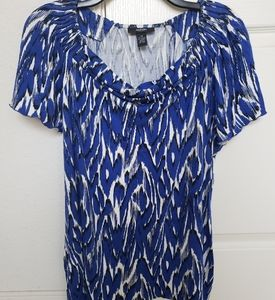 Alfani Woman Blue/White Short Sleeve Top